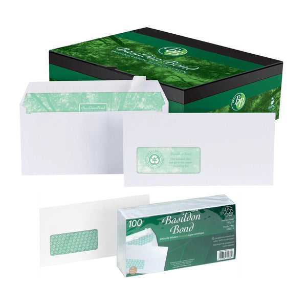 Basildon Bond Envelopes Recycled Wallet Peal & Seal Window 120gsm DL White [Pack 100 or 500]