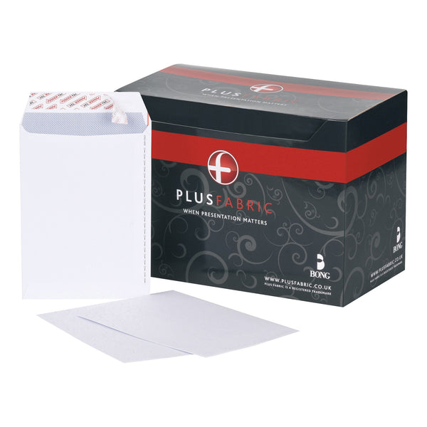 Plus Fabric Envelopes PEFC Pocket Peel & Seal or Self Seal 120gsm C5 White [Pack 500]