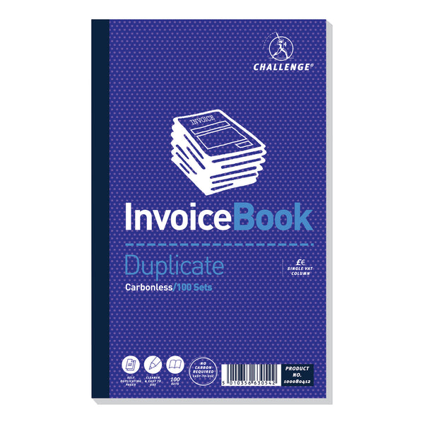 Challenge Duplicate Book Carbonless Invoice With Or Without VAT/Tax 100 Sets 210x130mm [Pack 5]