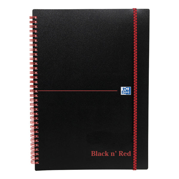 Black n Red Notebook Wirebound PP 90gsm Ruled and Perforated 140pp A4, A5 or A6 [Pack 5]