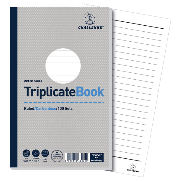 Challenge Triplicate Book Carbonless Ruled 100 Sets 210x130mm Or 105x130mm [Pack 5]