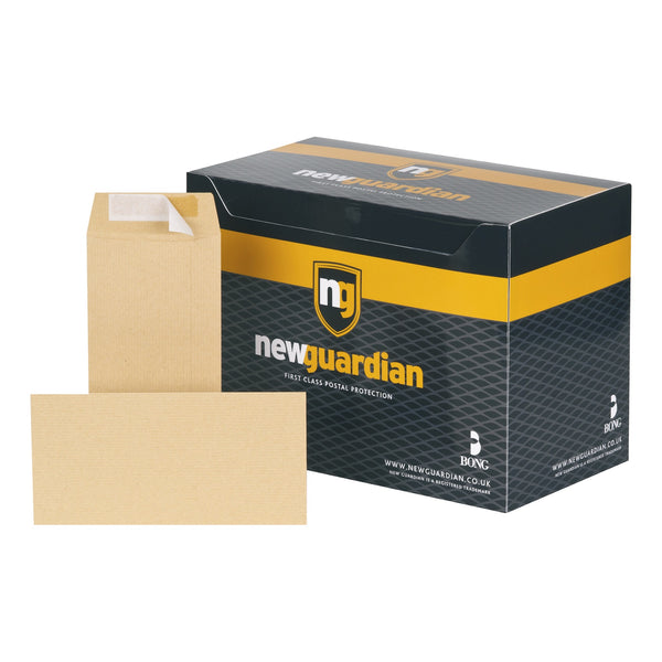 New Guardian Envelopes Heavyweight Pocket Peel & Seal 130gsm DL 220x110mm Manilla [Pack 500]