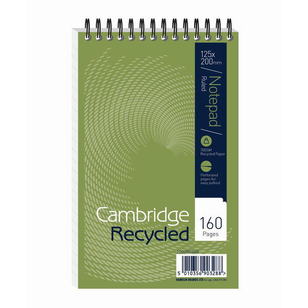 Cambridge Recycled Reporters Notebook 70gsm Ruled and Perforated 160pp 125x200mm [Pack 10]