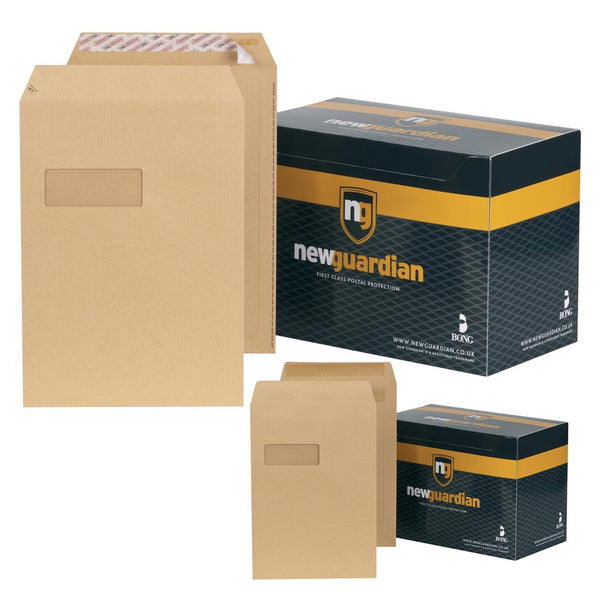 New Guardian Envelopes Pocket Peel & Seal Or Self Seal Window 130gsm C4 Manilla [Pack 250]