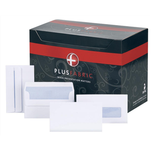 Plus Fabric Envelopes PEFC Wallet Self Seal Window 120gsm 89x152mm White [Pack 500]