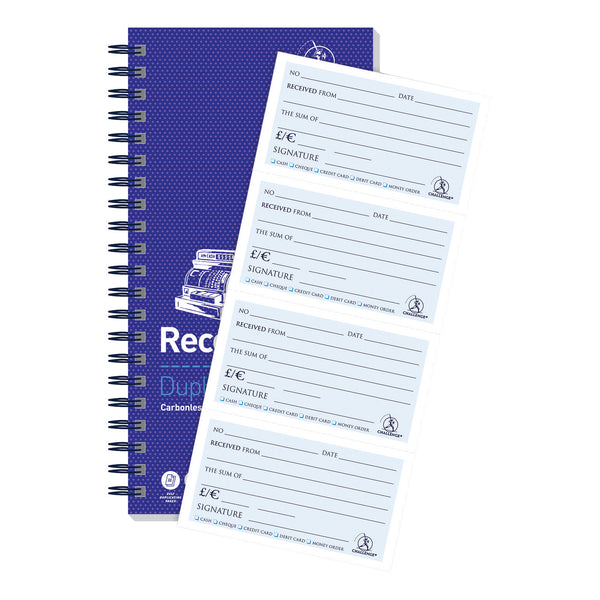 Challenge Duplicate Book Carbonless Receipt Book Wirebound 4 Sets a Page 200 Sets 280x141mm