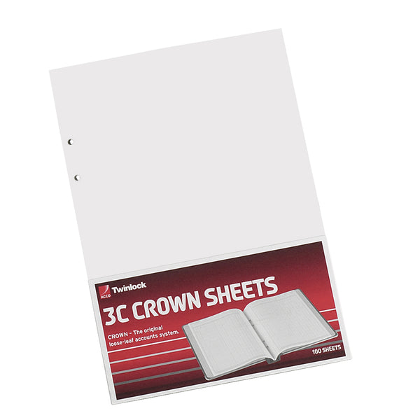 Twinlock 3C Crown Double Ledger Sheets 322x228mm [Pack 100]