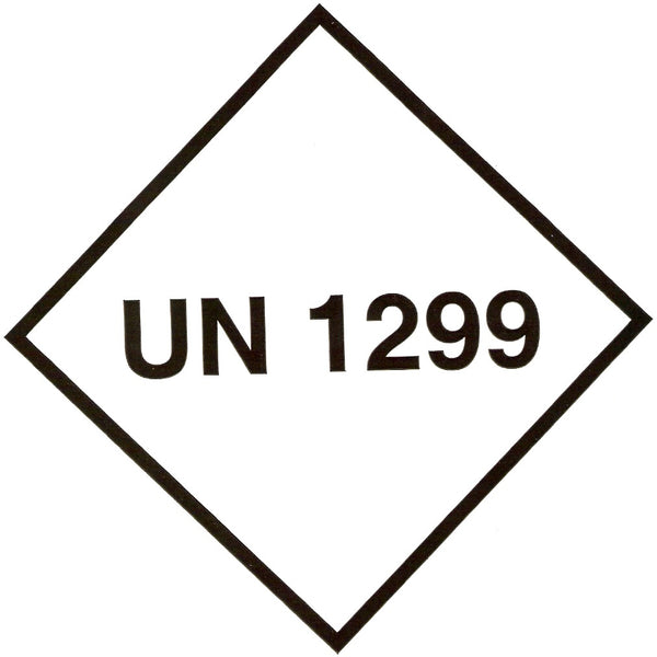 UN 1299 Labels - 100mm x 100mm label (single or rolls of 250)