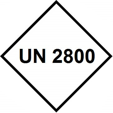UN 2800 Labels - 100mm x 100mm label (rolls of 250 labels)