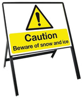 Durable Winter Hazard Warning and Message Signs With Steel Stanchion (various messages available)
