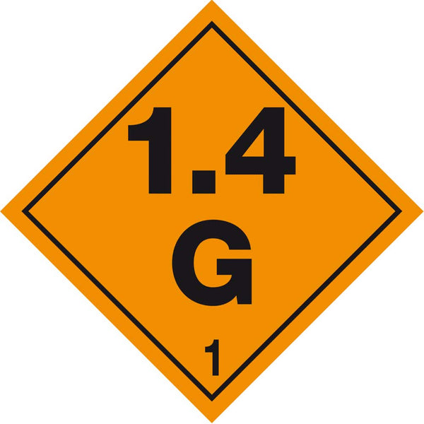 Class 1.4G - Explosive - 250mm x 250mm - Hazardous Placard