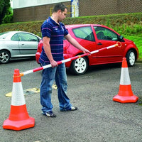 Highly Visible Extending Barrier Poles for Traffic Cones