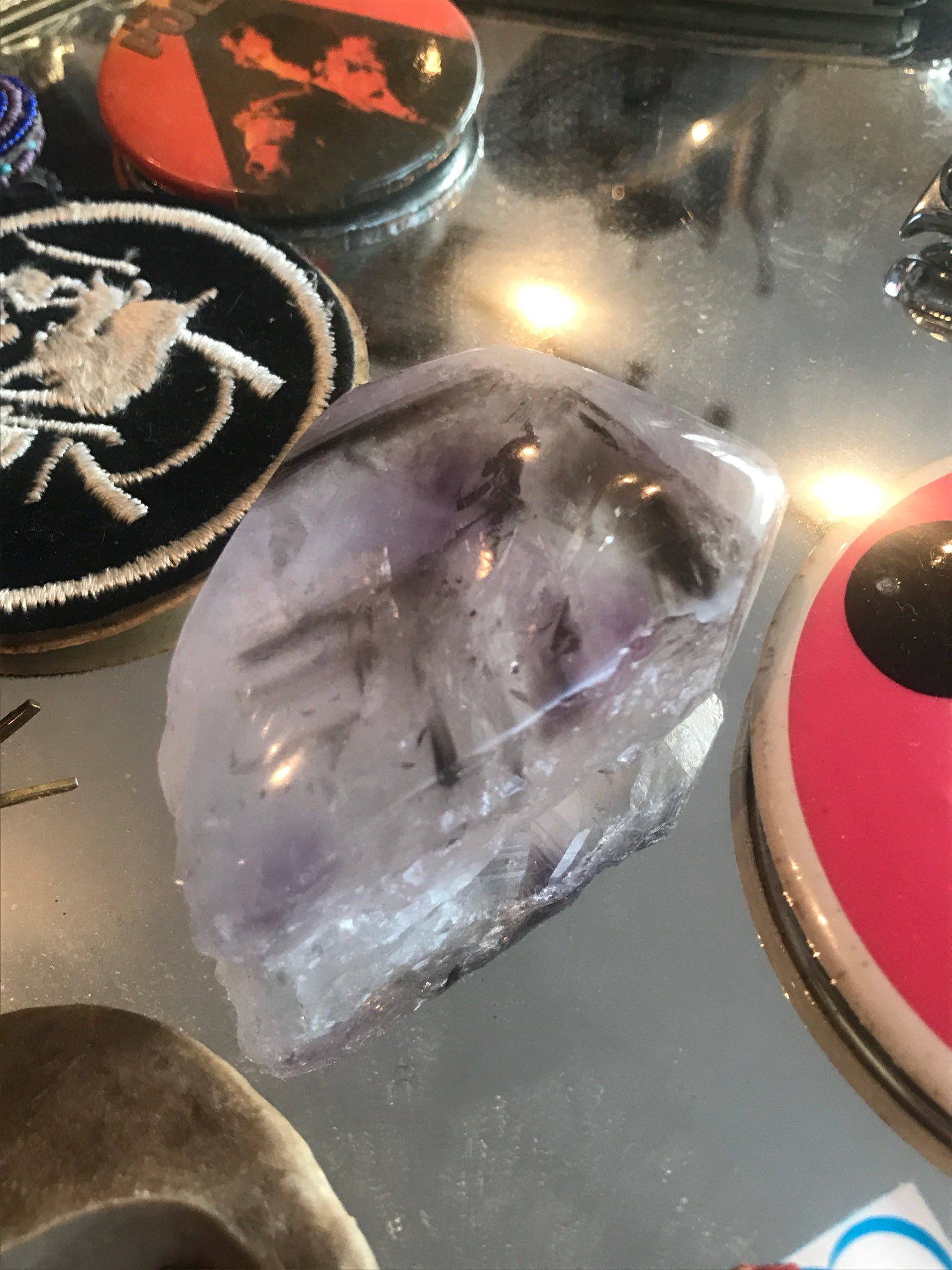 Super 7/Sacred 7 Amethyst Cacoxenite Polished + Raw Palm Stone