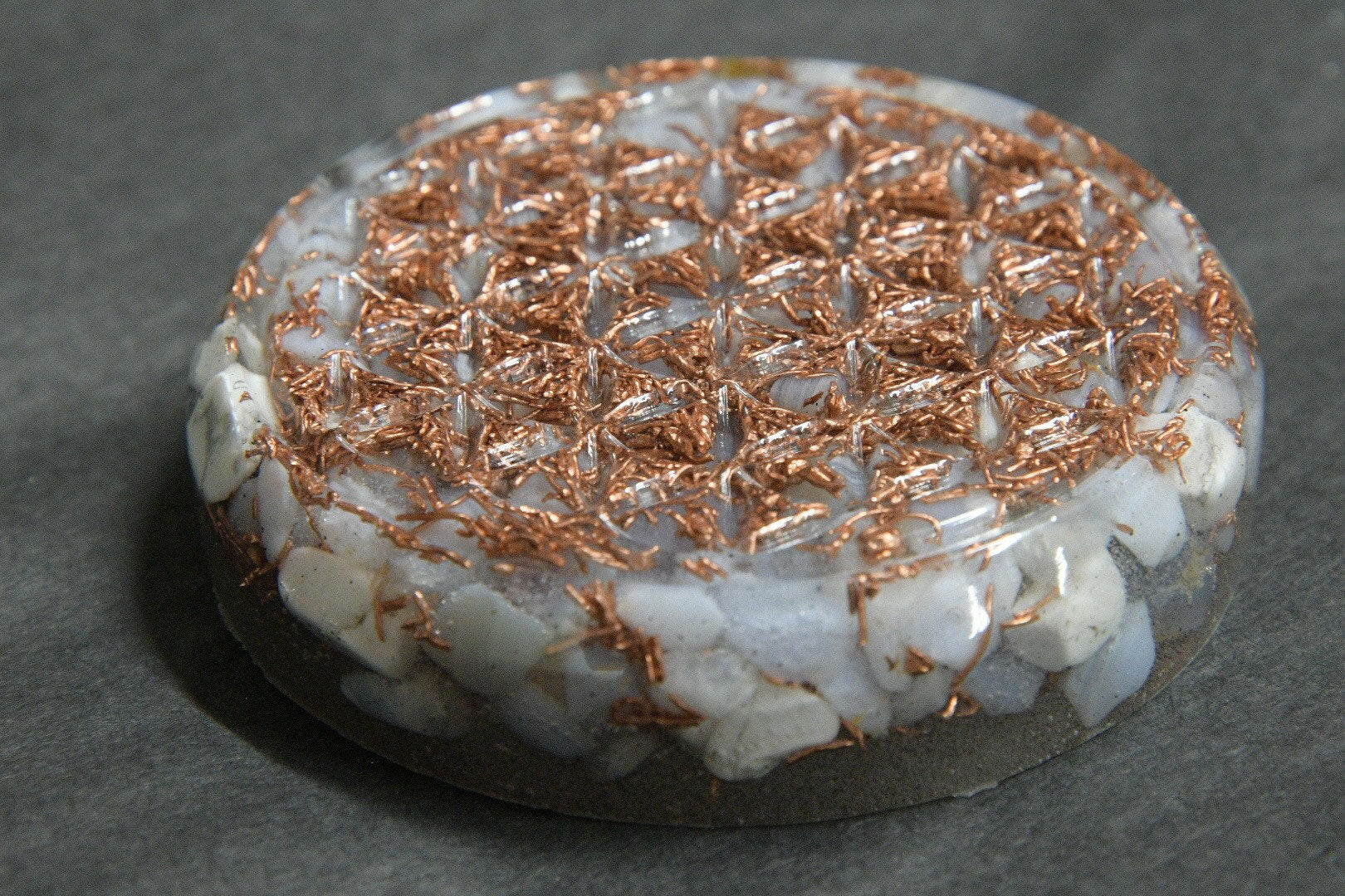 Flower of Life Orgonite w/ Blue Lace Agate and Copper