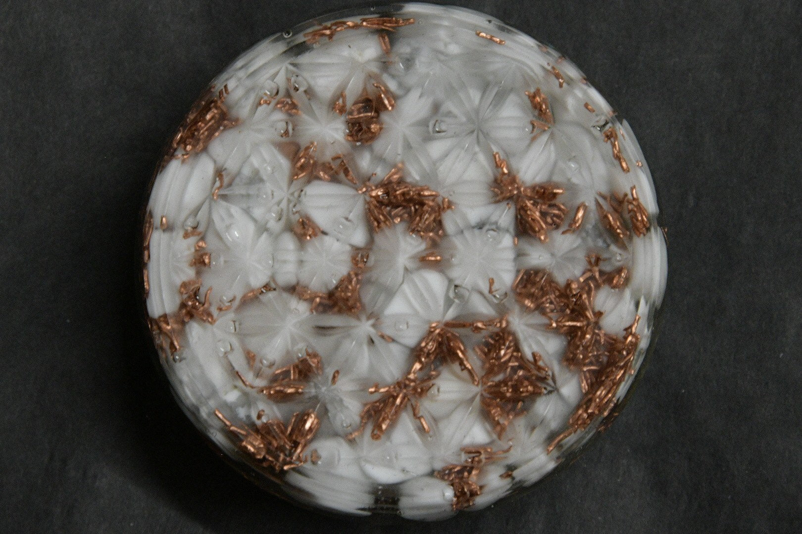 Flower of Life Orgonite w/ Howlite + Labrodorite + Copper