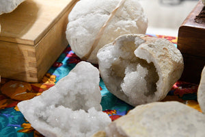 White Calcite Geode - One Set 2 Pieces