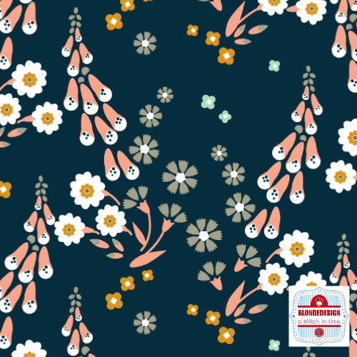 Foxglove - Foxgloves in navy by Aneela Hoey for Cloud 9 Organic