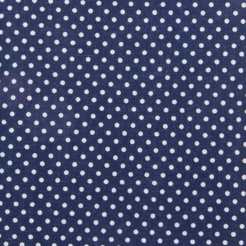 Iron-On Fusible Fabric - Navy Blue Polka Dot