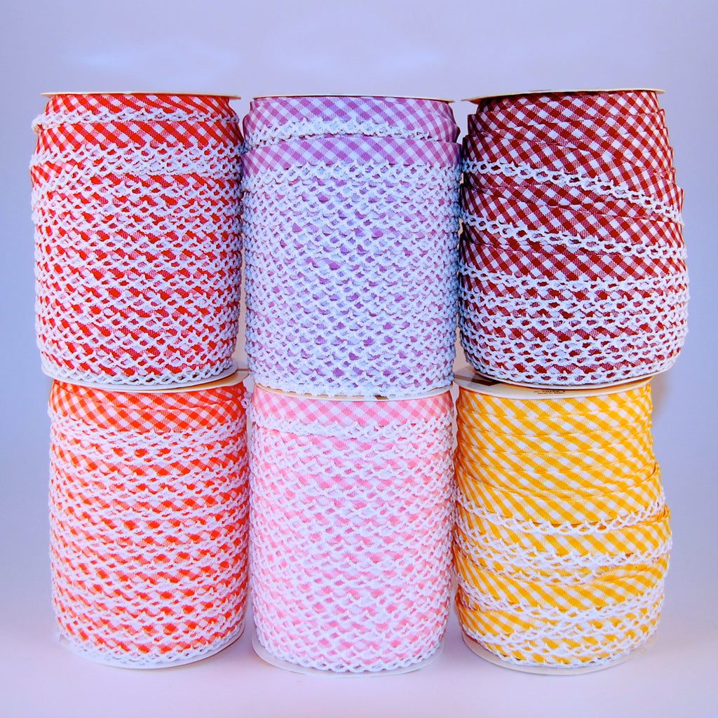 Gingham Lace Edge Bias Bindings 100% Cotton 12mm hot