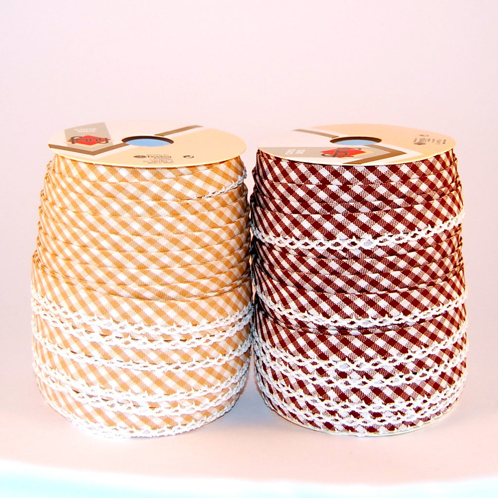 Gingham Lace Edge Bias Bindings 100% Cotton 12mm Autumn