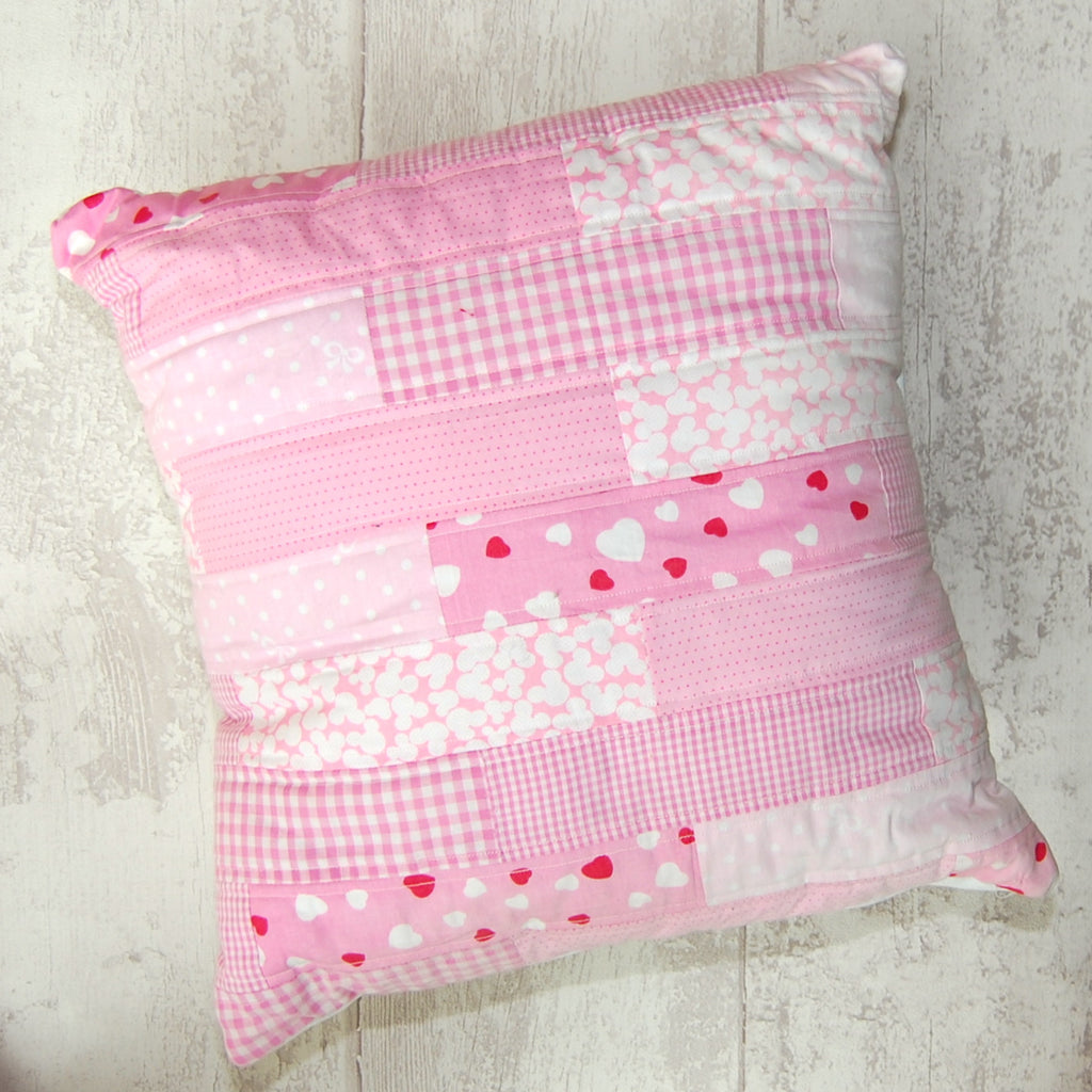 Baby Pink quilted cushion