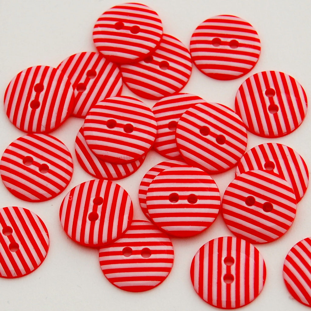 20 Red Stripe Buttons 15mm