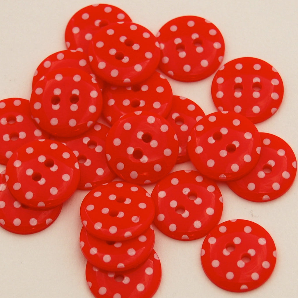 20 Red Spotty Buttons 15mm