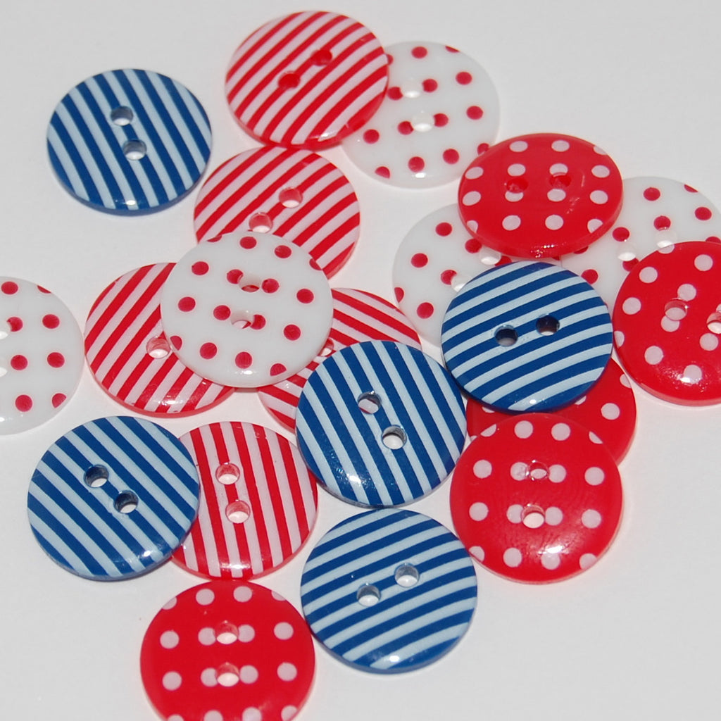 20 British Mix Buttons 15mm