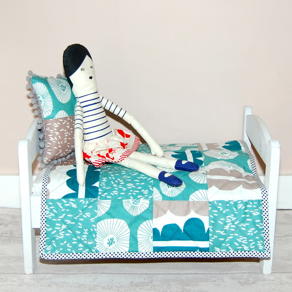 Teal Lotta doll quilt set