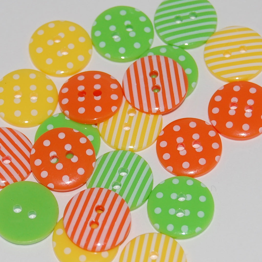 20 Citrus Mix Buttons 15mm
