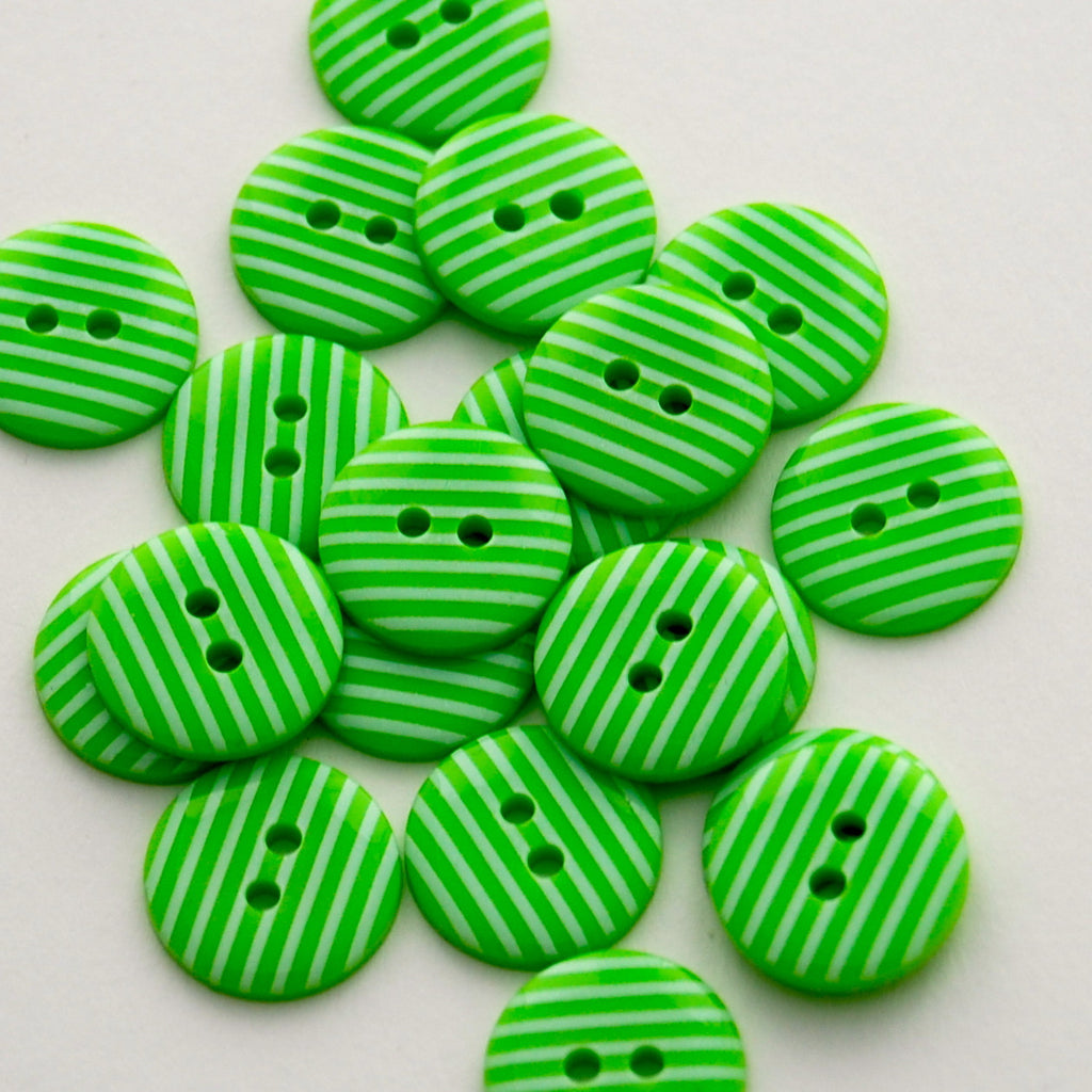 20 Lime Stripe Buttons 15mm