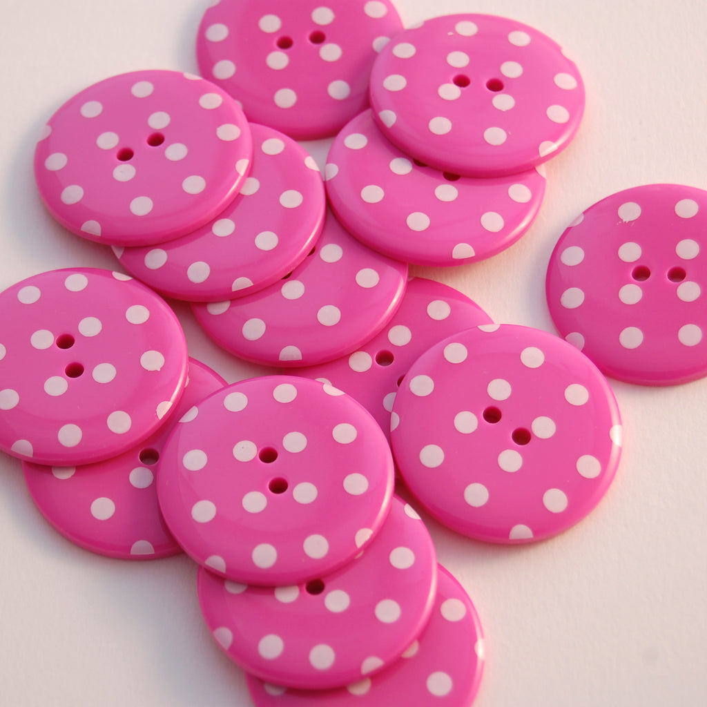 Big Hot Pink Spotty Buttons