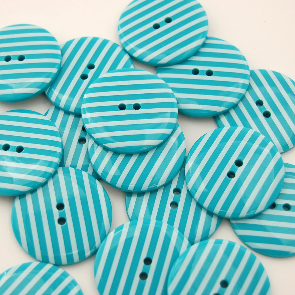 Big Turquoise Stripy Buttons