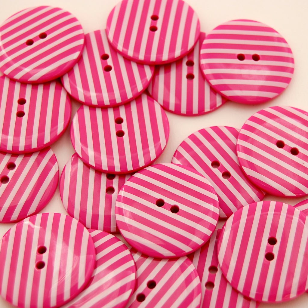 Big Hot Pink Stripy Buttons