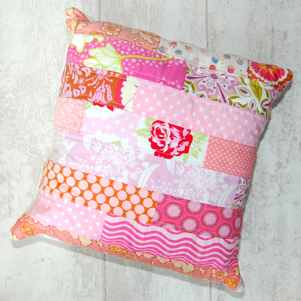 Pink quilted cushion