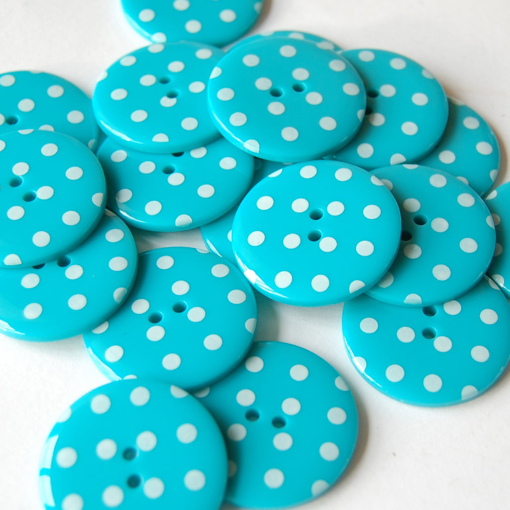 Big Turquoise Spotty Buttons