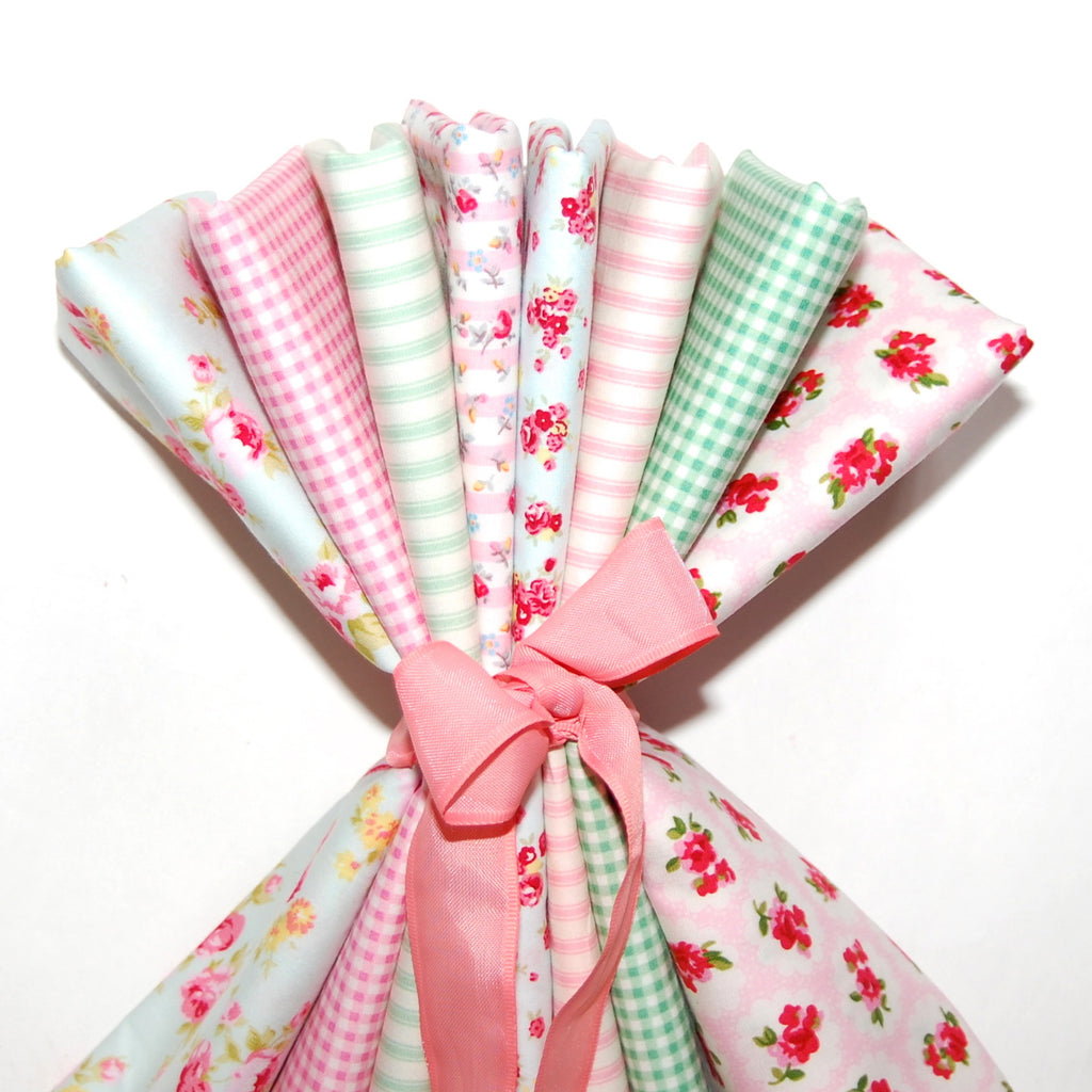 Rose & Hubble cotton poplin bundle Peppermint Rose x 8