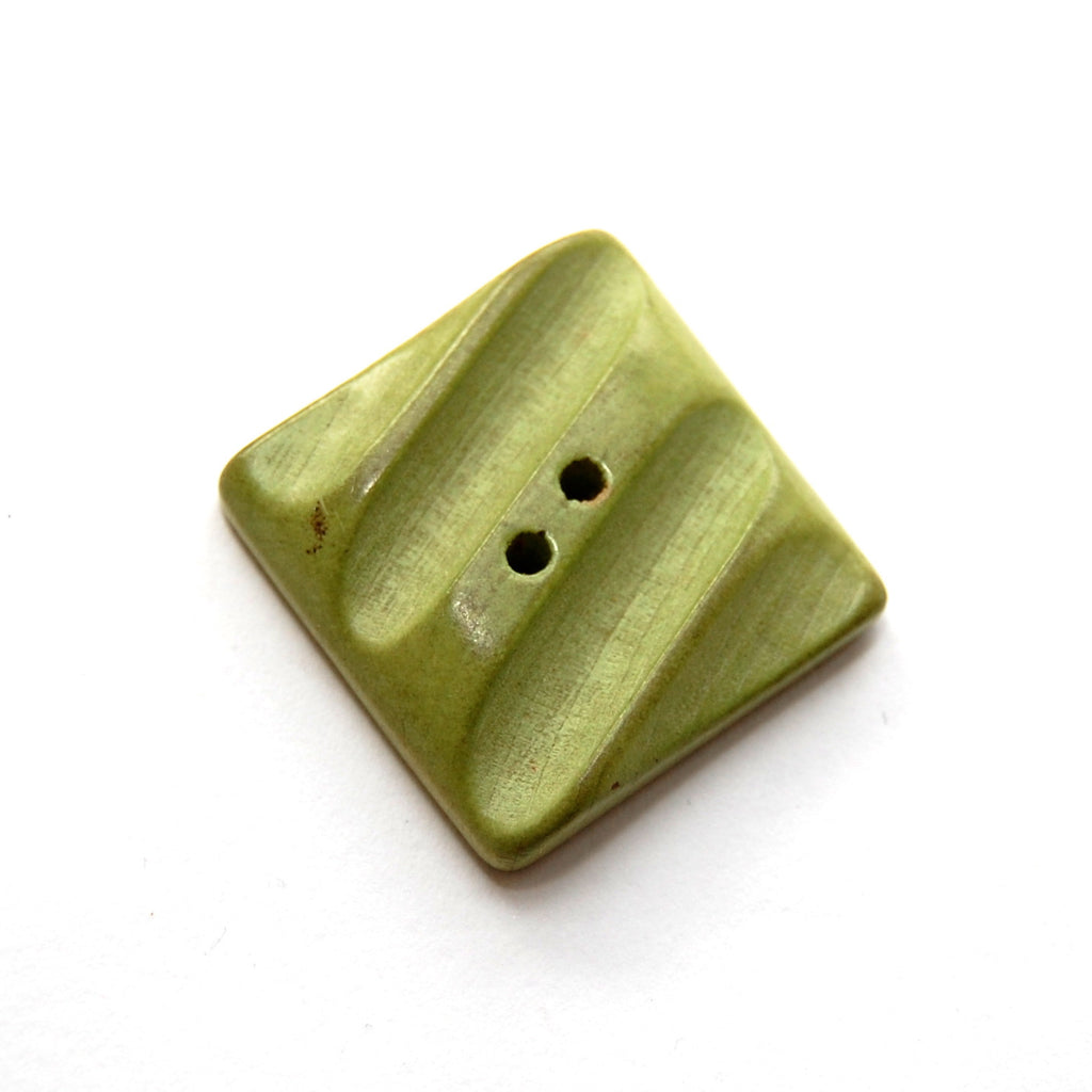 Vintage Green Wooden Button