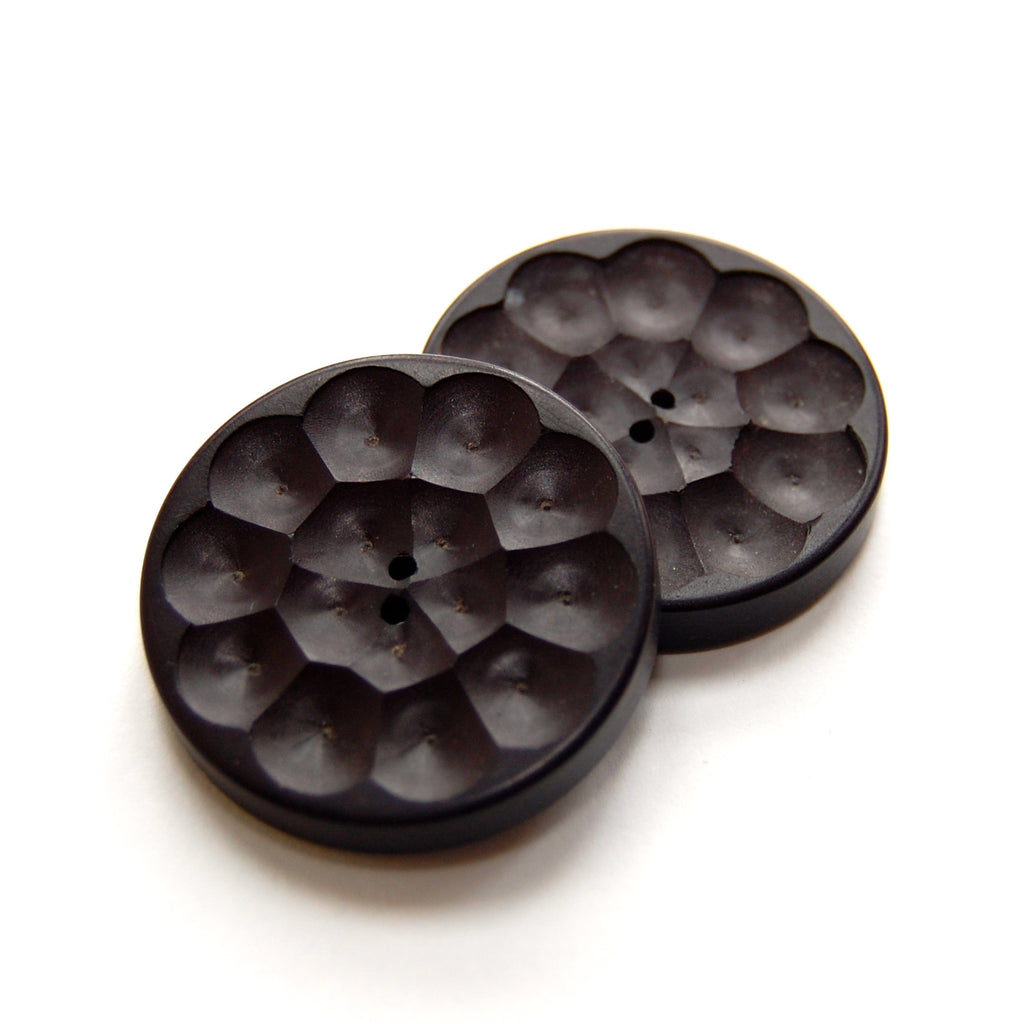 Large Black Wooden Buttons x 2