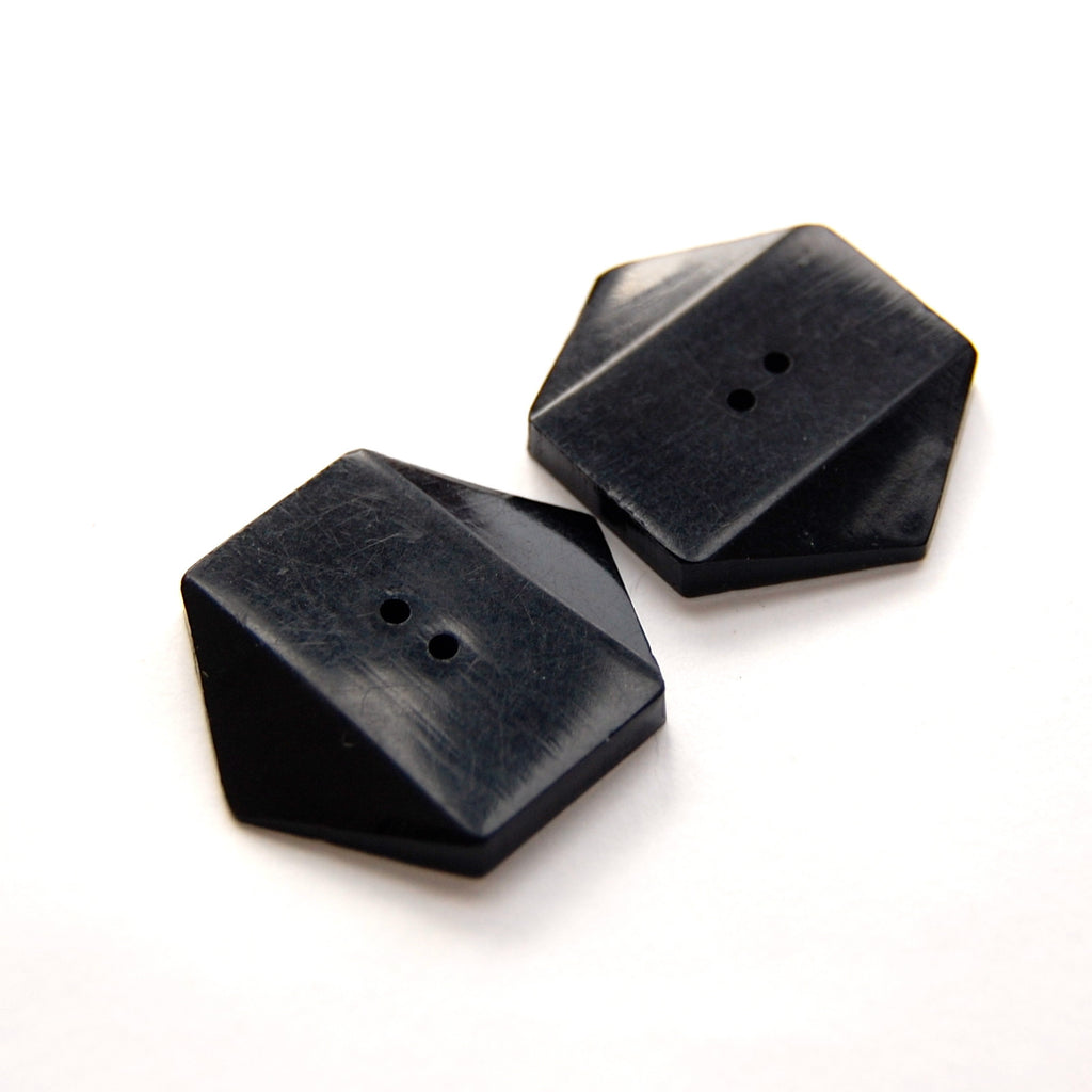 Hexagon Black Wooden Buttons x 2
