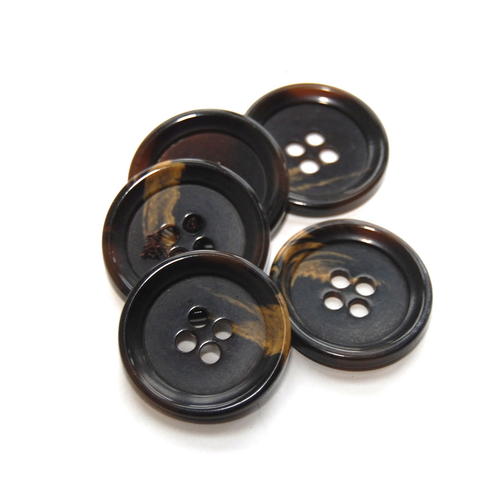 Marbled Black Brown plastic Buttons x 5