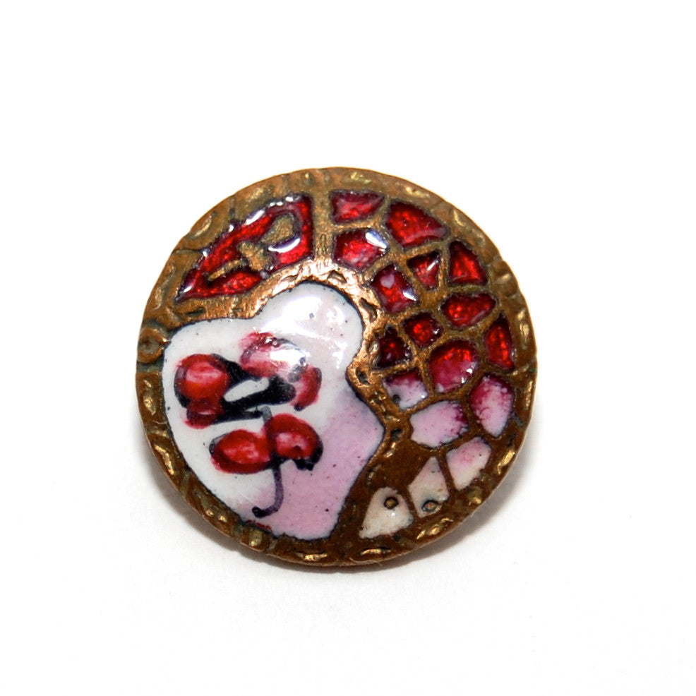 Antique French Hand painted Champleve Enamel Button