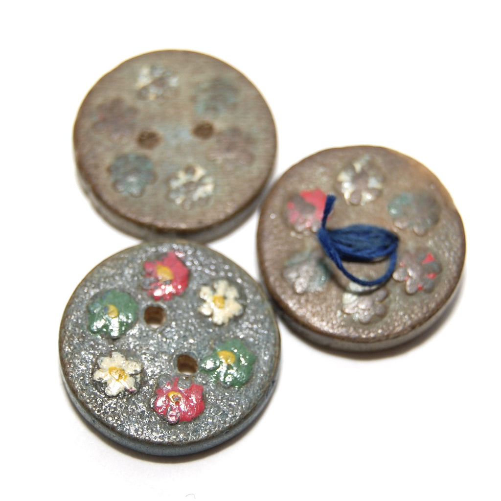 Vintage Hand painted Wooden Buttons x3