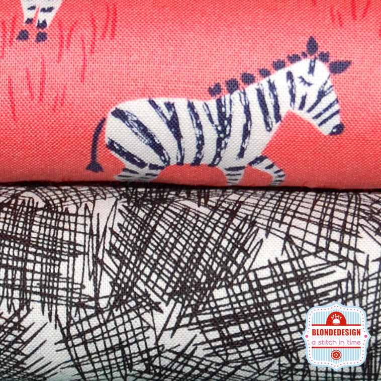 Mini Zebras in Coral by Michael Miller Fabrics Bundle x 2