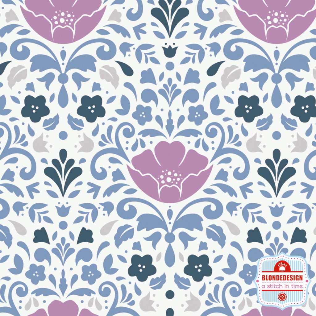 Floral Damask in Orchid by Camelot Fabrics