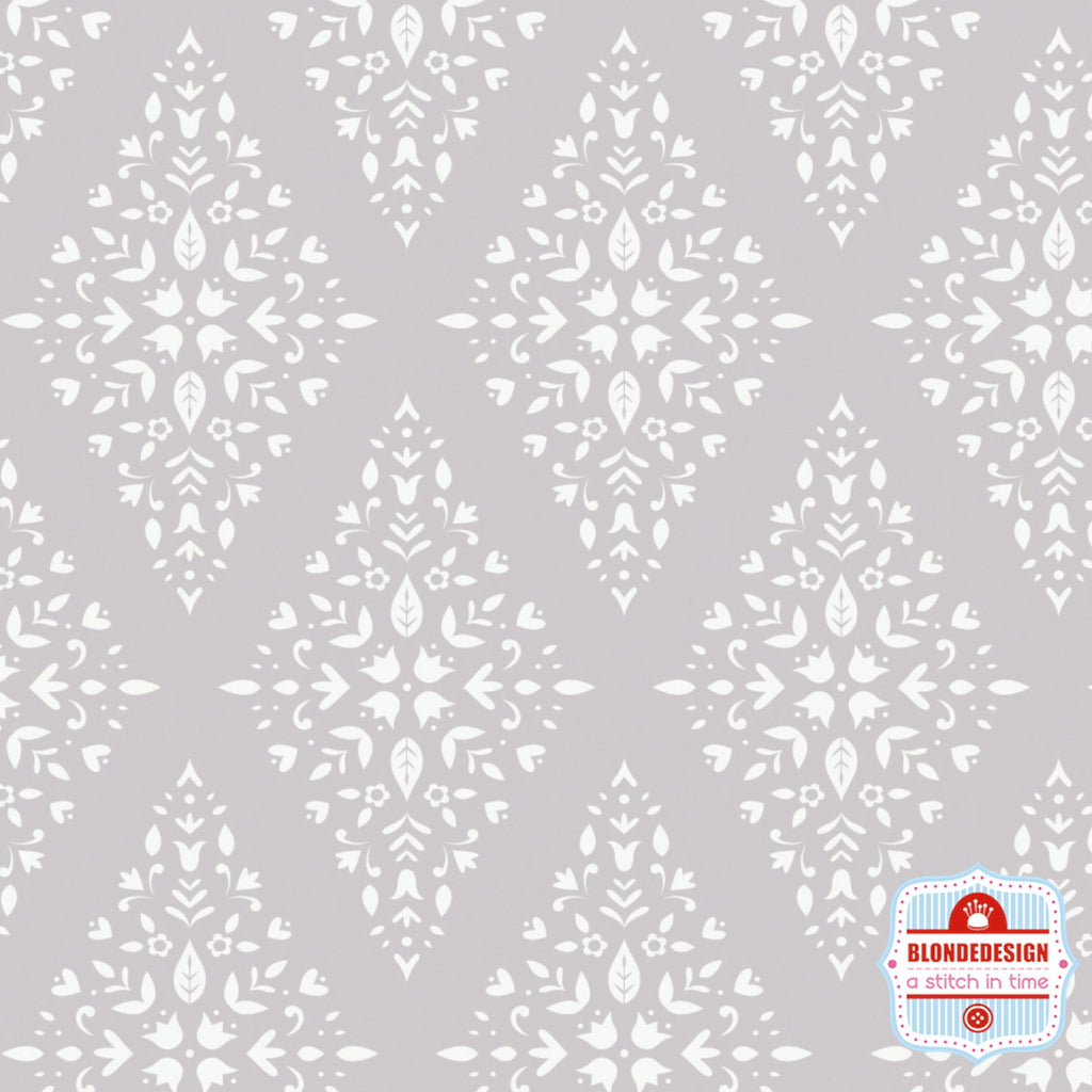 Floral Diamond in Zinc by Camelot Fabrics