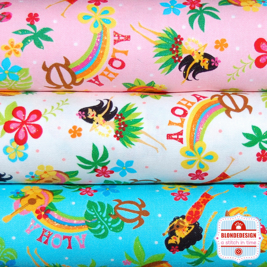 Ahola Hawaiian Hula Glitter Girl Japanese by CosmoTextiles Bundle x 3