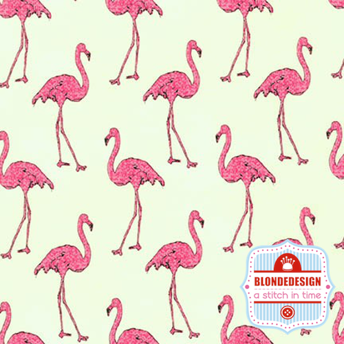 Beach Divas in Flamingos in flamingo by Anne Tavoletti for Robert Kaufman