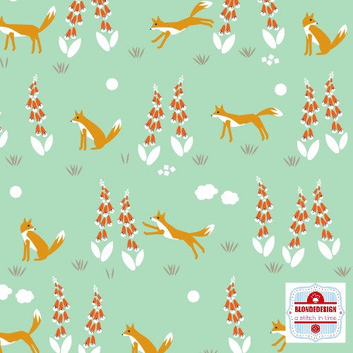 Foxglove - Fox In the Foxgloves turquoise by Aneela Hoey for Cloud 9 Organic