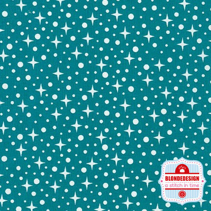 Starlight in teal by Elizabeth Hartman for Robert Kaufman